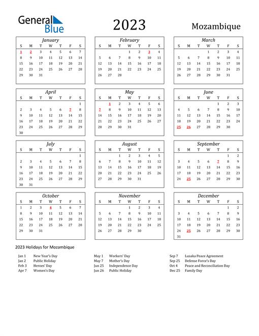2023 Mozambique Holiday Calendar