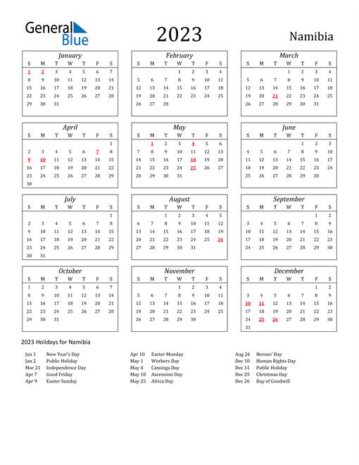 2023 Namibia Holiday Calendar