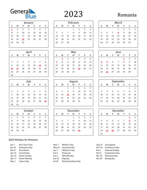 2023 Romania Holiday Calendar