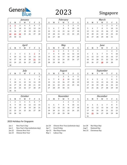 2023 Singapore Holiday Calendar