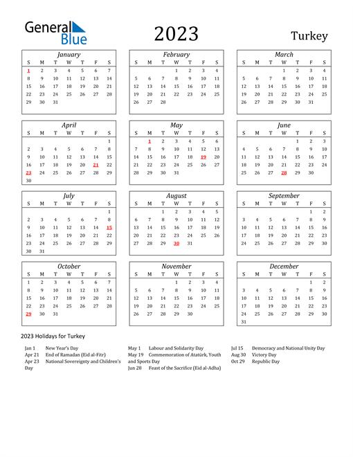 2023 Turkey Holiday Calendar