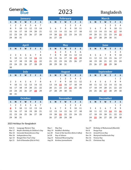Printable Calendar 2023 with Bangladesh Holidays