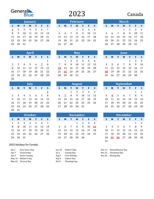 Printable Calendar 2023 with Canada Holidays