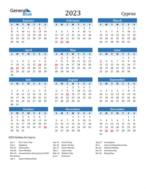 Printable Calendar 2023 with Cyprus Holidays