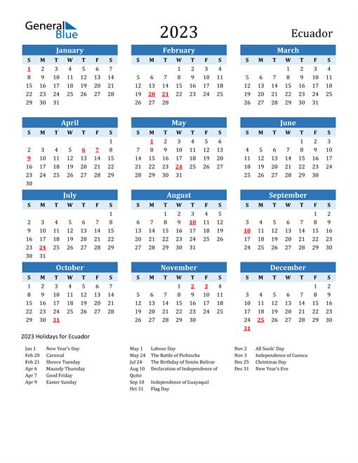 Printable Calendar 2023 with Ecuador Holidays