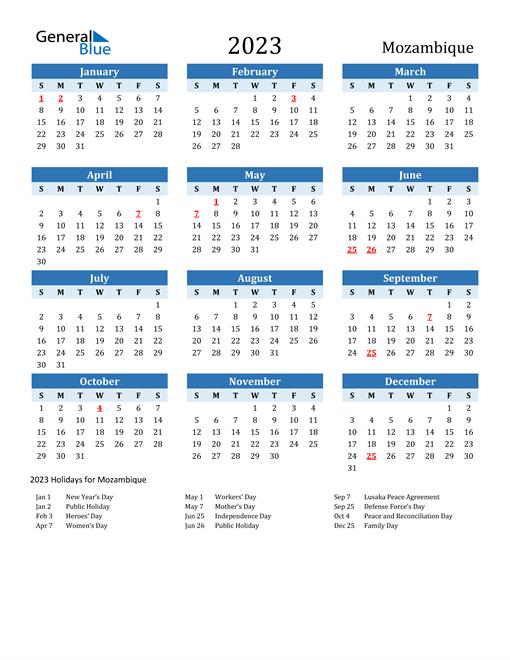 Printable Calendar 2023 with Mozambique Holidays