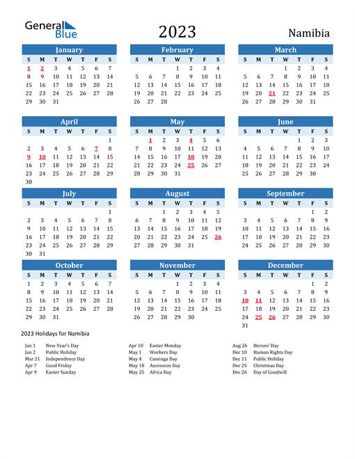 Printable Calendar 2023 with Namibia Holidays