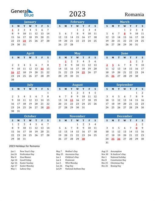Printable Calendar 2023 with Romania Holidays