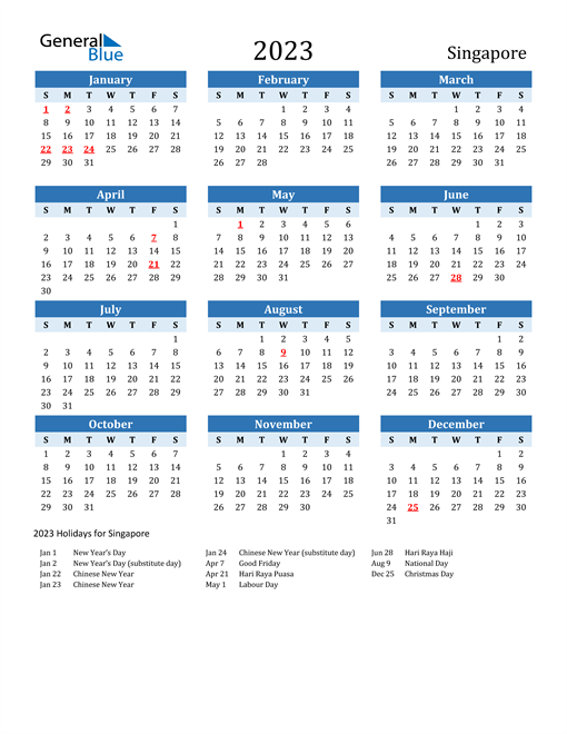 Printable Calendar 2023 with Singapore Holidays