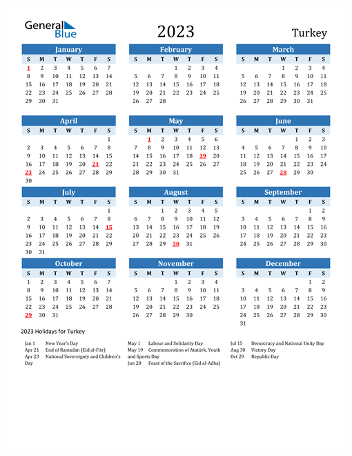 Printable Calendar 2023 with Turkey Holidays