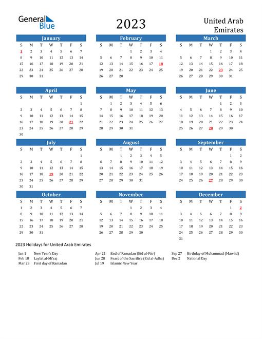 2023 Calendar with United Arab Emirates Holidays