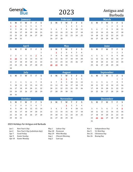 2023 Calendar with Antigua and Barbuda Holidays