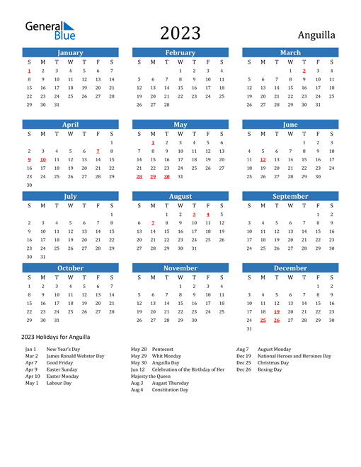 2023 Calendar with Anguilla Holidays
