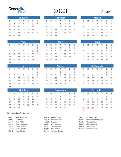 2023 Calendar with Austria Holidays