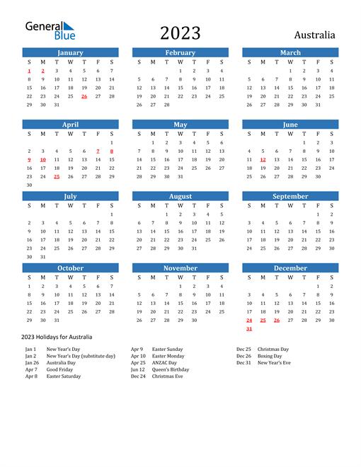 2023 Calendar with Australia Holidays