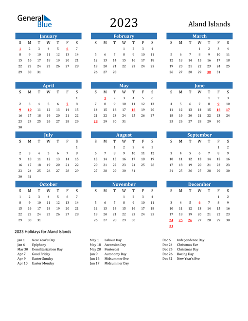 2023 Calendar with Aland Islands Holidays