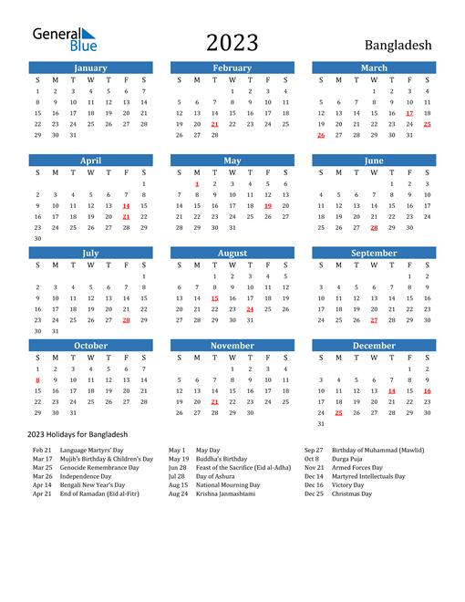 2023 Calendar with Bangladesh Holidays