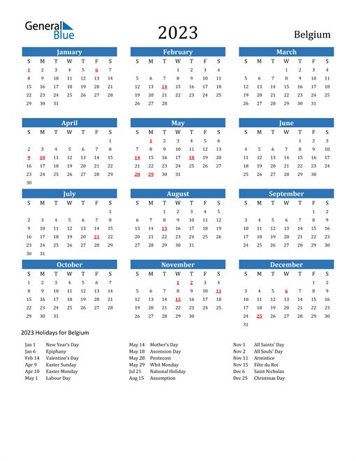 2023 Calendar with Belgium Holidays