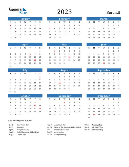 2023 Calendar with Burundi Holidays