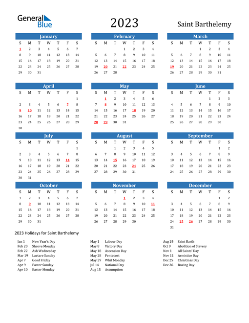 2023 Calendar with Saint Barthelemy Holidays