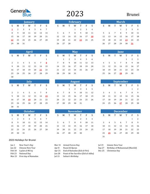 2023 Calendar with Brunei Holidays