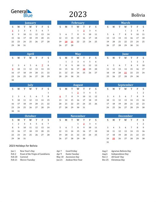 2023 Calendar with Bolivia Holidays