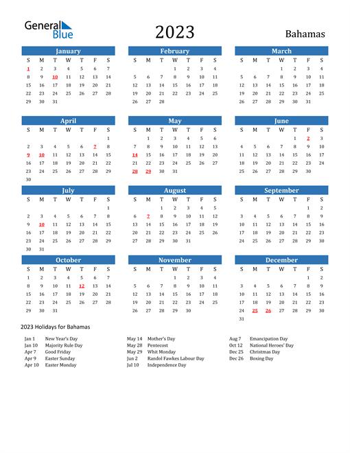 2023 Calendar with Bahamas Holidays