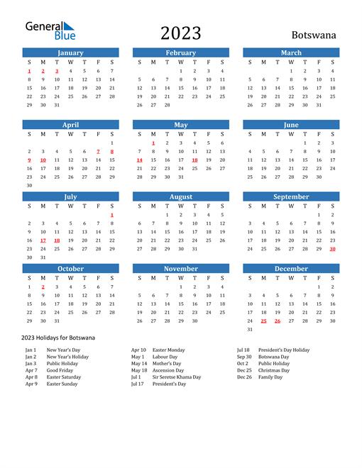 2023 Calendar with Botswana Holidays