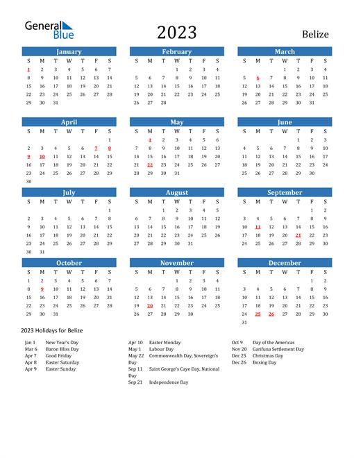 2023 Calendar with Belize Holidays