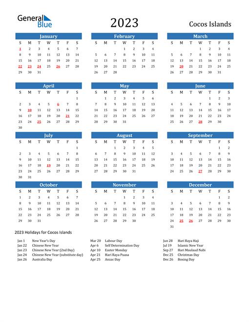 2023 Calendar with Cocos Islands Holidays