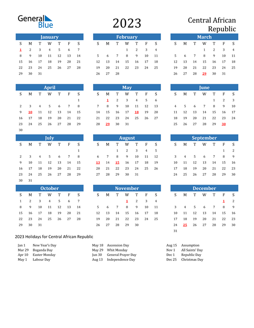 2023 Calendar with Central African Republic Holidays