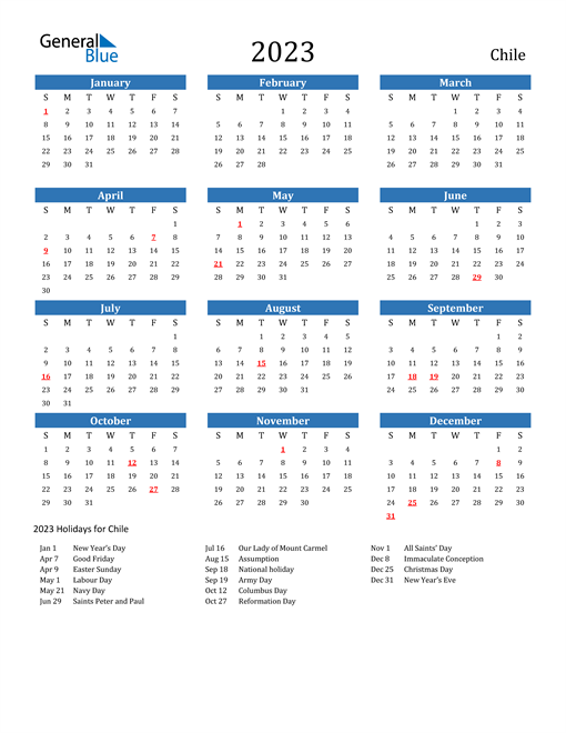 2023 Calendar with Chile Holidays