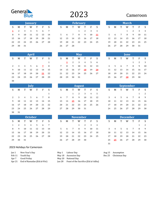 2023 Calendar with Cameroon Holidays