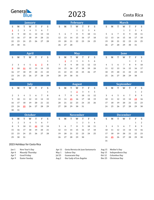 2023 Calendar with Costa Rica Holidays