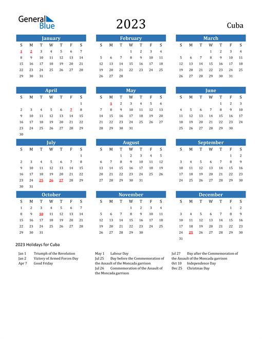 2023 Calendar with Cuba Holidays