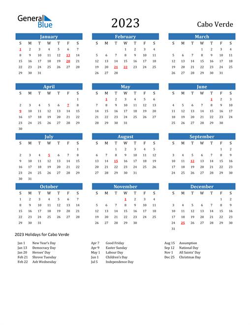 2023 Calendar with Cabo Verde Holidays