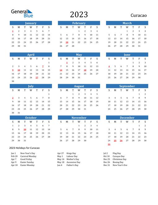 2023 Calendar with Curacao Holidays