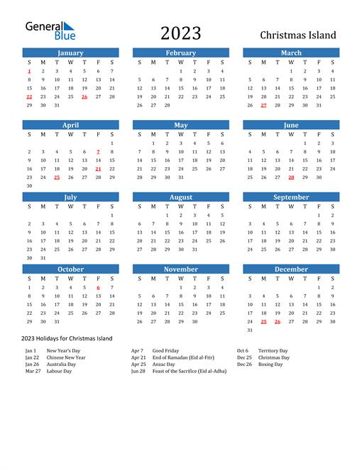 2023 Calendar with Christmas Island Holidays