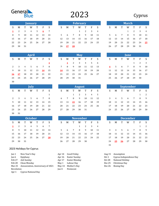 2023 Calendar with Cyprus Holidays