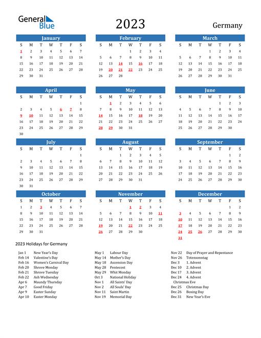 2023 Calendar with Germany Holidays