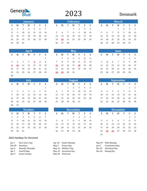 2023 Calendar with Denmark Holidays