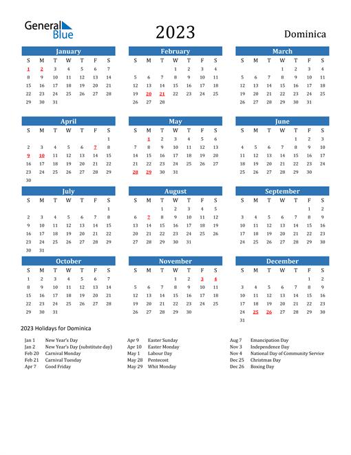 2023 Calendar with Dominica Holidays