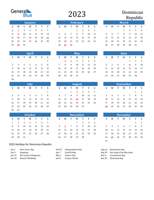2023 Calendar with Dominican Republic Holidays