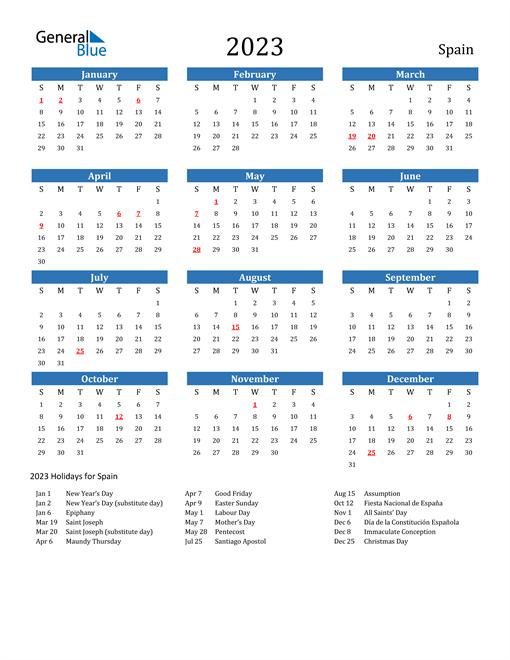 2023 Calendar with Spain Holidays