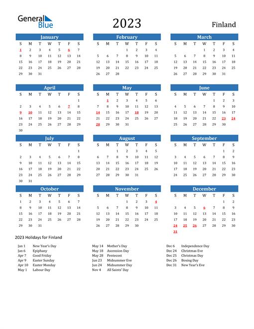 2023 Calendar with Finland Holidays