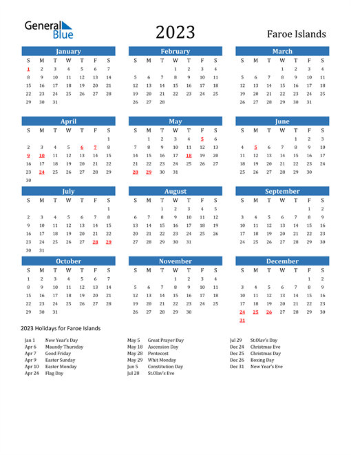 2023 Calendar with Faroe Islands Holidays
