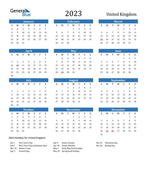2023 Calendar with United Kingdom Holidays