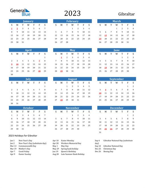 2023 Calendar with Gibraltar Holidays