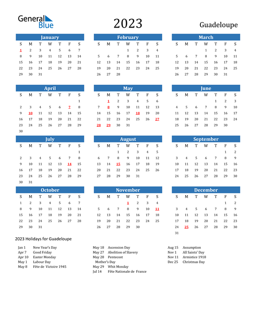 2023 Calendar with Guadeloupe Holidays