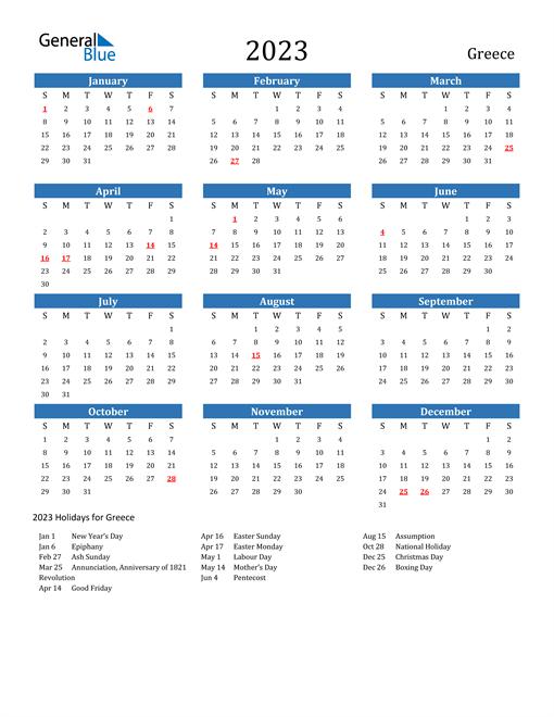 2023 Calendar with Greece Holidays